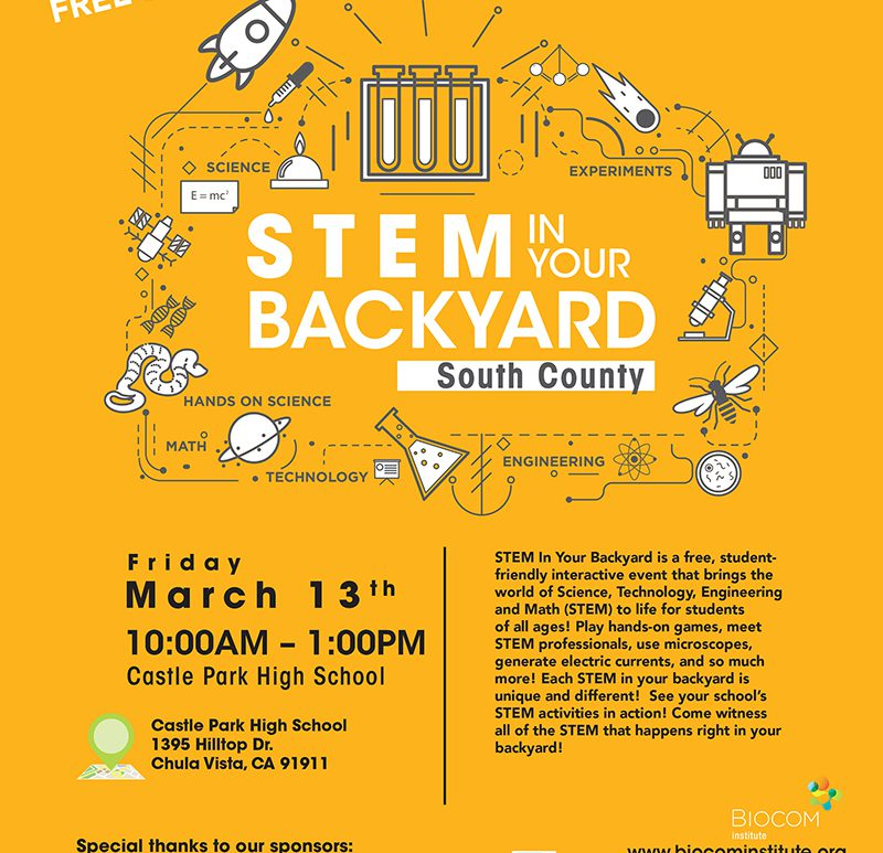 STEM in your Backyard South County at Castle Park High School - Friday, March 13th - 10am - 1pm