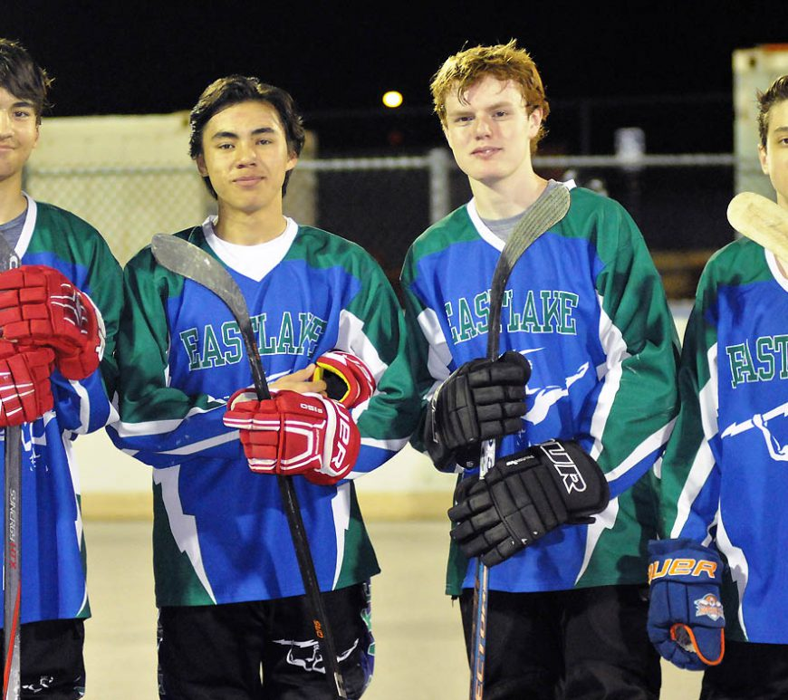 From left, Eastlake High School's version of roller hockey's fearsome foursome, Luke Killeen, Will Hamilton, Jake Powell and Braden Mayer. Photo by Phillip Brents