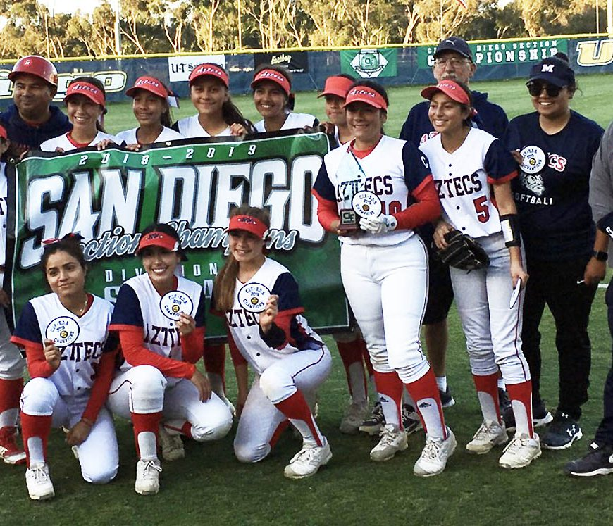 Montgomery High School's softball team made history by winning the school's first San Diego Section championship in the sport after posting a 10-6 come-from-behind win over top-seeded Mountain Empire High School in last Friday's Division V final at UC San Diego.