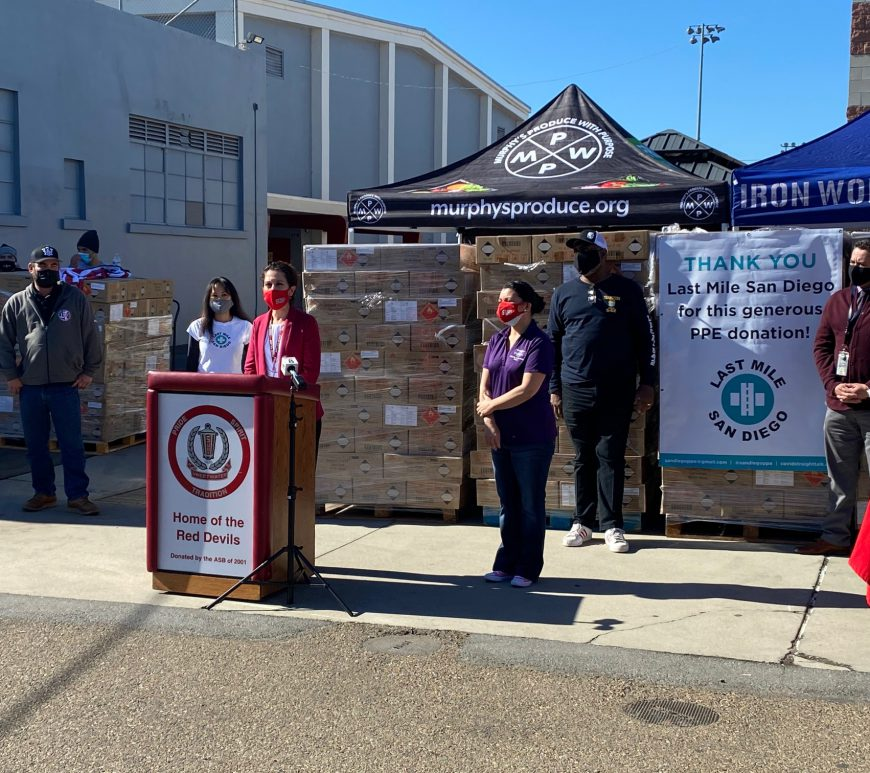Sweetwater High School and City of National City Partner to Distribute PPE Representatives from Various Organizations Receive Essential Supplies